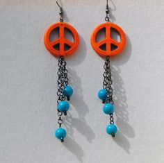 Statement Dangle Earrings - Orange and Turquoise - Retro Orange Peace Sign and Vintage Lucite Bead Dangle Earrings - Orange Howlite USD) by RescuedOfferings Vintage Earrings, Beaded Earrings, Beaded Jewelry, Vintage Jewelry, Bling Jewelry, Wire Jewelry, Orange Earrings, Knitting Supplies, Orange And Turquoise