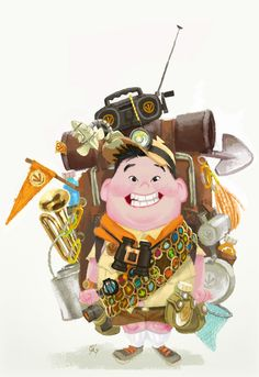 Pixar's Up | Concept Illustration of Russell with a backpack