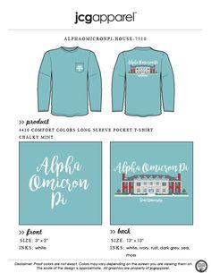 JCG Apparel : Custom Printed Apparel : Alpha Omicron Pi House T-Shirt #alphaomicronpi #aopi #house #handdrawn #greek