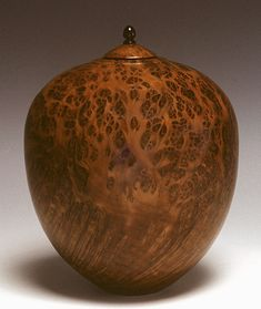 woodturnings: Hollow-Turned Lidded Container Redwood Burl and Ebony Wood