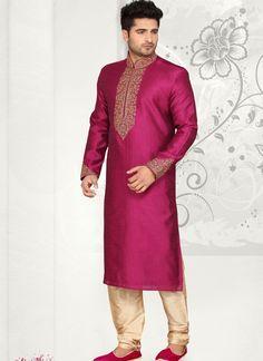 Wedding Endearing Magenta Art Silk Wedding Wear Kurta Pajama