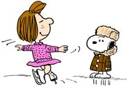 Snoopy coaching Peppermint Patty ice skating
