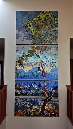 The Madrona - created with paper on canvas - triptych 60 X 144 inches. The commission is 12 feet tall, but my art studio is only 8 feet. So I could only work on one panel at a time. Fun!