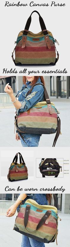 For a limited time, get 58% off our one-of-a-kind Rainbow Natural Canvas Handbag! Its unique exquisite workmanship provides the best durability, style and elegance to your everyday look. With its substantial size and strong design, this bag allows you the comfort and ease of storing your everyday essentials securely. Constructed with the busy modern woman in mind.