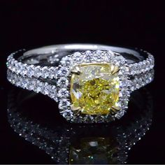 2.32 Ct. Fancy Yellow Halo Diamond Engagement Ring VVS1 GIA - Recently Sold Engagement Rings