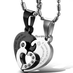His and Hers Stainless Steel Matching Love Hearts Couple Pendant Necklaces 2pcs #UnbrandedGeneric #Pendant