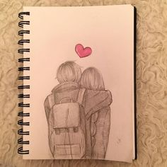 ✔ Anime Dibujos A Lapiz Amistad Cute Drawings Of Love, Cute Couple Drawings, Girly Drawings, Cool Art Drawings, Pencil Art Drawings, Easy Drawings, Sketches Of Couples, Orange Anime, Relationship Drawings