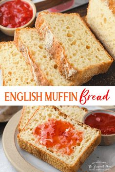 There's no better toasting bread than a loaf of homemade English Muffin Bread! No Knead Bread Recipe | Homemade Bread Recipe Knead Bread Recipe, Tasty Bread Recipe, No Knead Bread, Bread Machine Recipes, Bread Recipes, Whole Food Recipes, Cooking Recipes, Cooking Tips, English Muffin Bread