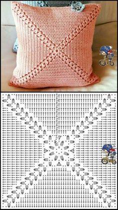 Crochet Motif Patterns, Crochet Pillow Pattern, Crochet Diagram, Crochet Squares, Crochet Chart, Débardeurs Au Crochet, Crochet Home, Bead Crochet, Crochet Doilies
