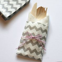10 Table Settings Buffet Bags Gray Grey Chevron w/ Wood Wooden Silverware Flatware Wedding Birthday Party Baby Shower Favors Paper Goods, $13.99