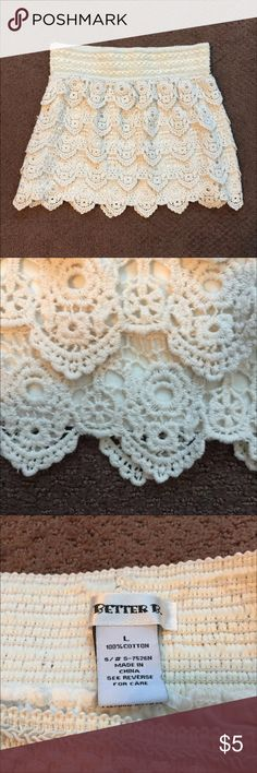 Cream Lace Mini Skirt Gently used. In great condition!  Super comfortable skirt. Skirts Mini