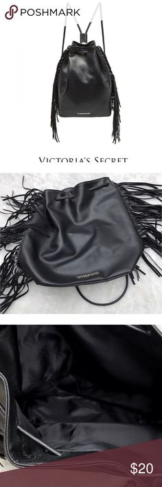 Victoria Secret Black Fringe Trim Drawstring Bag Victoria's Secret black drawstring fringe trimmed back. Great condition. Lightly used. Perfect for summer concerts Or nights out. 🚫No trades ✅Reasonable offers submitted though offer button accepted. 🚭Smoke free home💌Laundered before shipped Victoria's Secret Bags