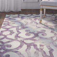 Layla Purple Geometric Wool Hand-Tufted Area Rug