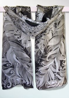 Black scarf Feathers - long silk scarf - hand painted designer scarves - black and white foulard