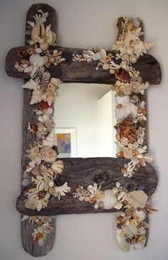 driftwood and shell mirror frame Seashell Painting, Seashell Art, Seashell Crafts, Driftwood Frame, Driftwood Crafts, Rustic Beach Decor, Beach House Decor, Boat Crafts, Shell Decorations