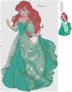 Ariel The Little Mermaid cross stitch pattern - free cross stitch patterns