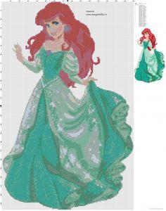 Ariel The Little Mermaid cross stitch pattern - free cross stitch patterns