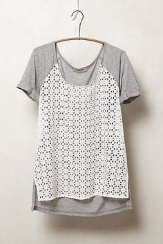 Anthropologie tshirt - $78!!  stretch lace over entire front looks good or make a hanging separate front piece for much less.