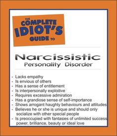 Quick list of Narcissistic Personality Disorder traits on TWOWISEGALS' page. Check it out :)