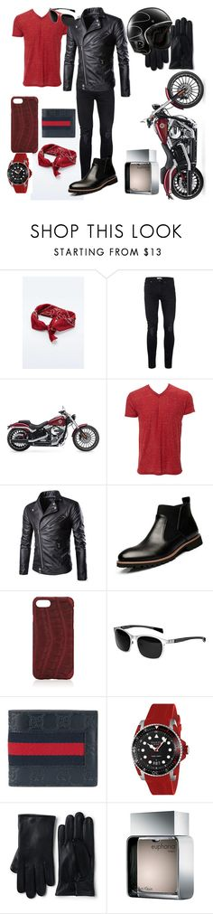"""Badass / Men"" by solbustos ❤ liked on Polyvore featuring Topman, Harley-Davidson, Simplex Apparel, Hadoro, Breed, Gucci, Lands' End, Retrò, Calvin Klein and men's fashion"