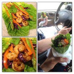 #whole30challenge #lunch during a busy weekend (baseball tournament). Made Kickin Spicy Shrimp & Veggie Romaine Roll-Ups! - @evangelinehandmade- #webstagram