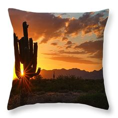 """Visions of a Saguaro Sunset  Throw Pillow 18"""" x 18"""""""