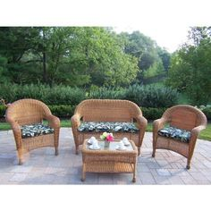 Oakland Living Resin Wicker 4pc Seating Set with Cushions by Oakland Living. $945.92. Oakland Resin Wicker. Durable Resin Wicker and Steel Frame Construction. Natural Color for Years of Beauty. 1 Year Limited Manufacturers Warranty. Easy to Follow Assembly Instructions and Product Care Information. Our all weather resin wicker sets are the perfect edition to any setting. Adds beauty, style and functionality to your home, garden or back yard patio. Ideal for indoo...