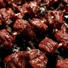 Strips of steak are marinaded in a delicious teriyaki sauce and then grilled to perfection on bamboo skewers. Prep time does not include the 24 hours of marinading - so. Teriyaki Skewers, Teriyaki Steak, Beef Skewers, Beef Steak, Beef Tip Recipes, Beef Casserole Recipes, Kabob Recipes, Asian Recipes, Ethnic Recipes