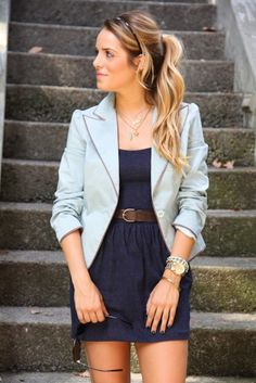 We saw a lot of looks similar to this at the Job & Internship Fairs this week. Just because you throw a blazer over a dress does not mean your look is professional.