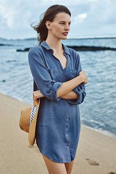 Blue  shirt dress from Anthropologie