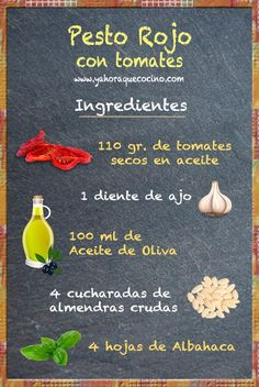 Ingredientes para preparar el Pesto Rojo.