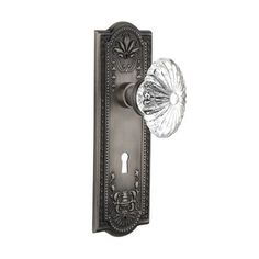 Nostalgic Warehouse Oval Fluted Crystal Glass Privacy Door Knob with Mission Plate Finish: Antique Pewter