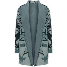 Samoon Petrol / Light-Grey Plus Size Patterned cardigan (3,965 INR) ❤ liked on Polyvore featuring tops, cardigans, petrol, plus size, wrap cardigans, plus size womens cardigans, print cardigan, long sleeve cardigan and women's plus size tops