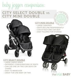 Side by side or tandem double stroller?  Here's a Baby Jogger Comparison - the City Select Double vs City Mini Double