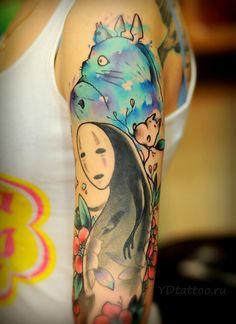 Tattoos Inspired by Hayao Miyazaki. No Face and Totoro done by Anton Kovrigin.
