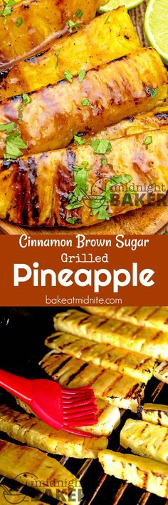 Pineapple gets even better when it's grilled with this great cinnamon brown sugar glaze (fruit dishes brown sugar) Grilling Recipes, Cooking Recipes, Grilling Ideas, Barbecue Recipes, Bbq Appetizers, Bbq Desserts, Good Food, Yummy Food, Tasty