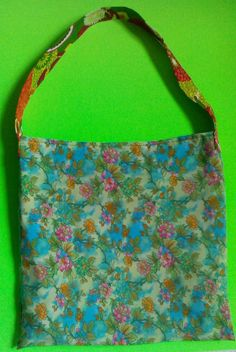 Green Flower Tote  one of a kind larissamyrie.art washable, strong, upcycled, fun, #fashion #style #art #barbie #shoppingbag #totebag #shoulderbag #slowfashion