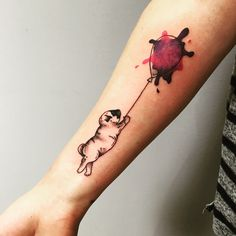 mops pug dog with balloon aquarell watercolor forearm tattoo amazing - by Richy at tattoo anansi munich, germany