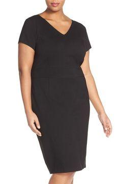 Sejour Ponte Knit V-Neck Sheath Dress (Plus Size)   Nordstrom