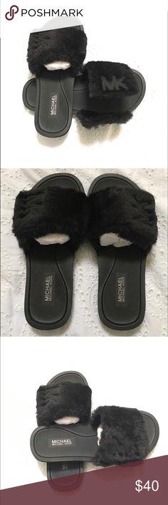 581e4f7d0c8b A pair of MK open toe faux fur slides. These are brand new MK slides. Michael  Kors SlidesMichael Kors BlackMk SlidesFaux Fur SlidesSlippersOpen ...