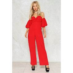 Nasty Gal If Knot Now Off-the-Shoulder Jumpsuit (487.010 IDR) ❤ liked on Polyvore featuring jumpsuits, red, wide leg jumpsuits, red wide leg jumpsuit, sleeve jumpsuit, red jump suit and zipper jumpsuit