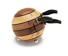 Spherical Multi Wood Knife Block by Breka very quirkey Woodworking Guide, Custom Woodworking, Woodworking Projects Plans, Knife Storage, Wood Knife, Diy Cutting Board, Knife Holder, Kitchen Equipment, Wooden Art