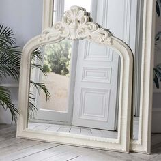 Josephine Crested Overmantle Mirror Cream 112 x 97cm