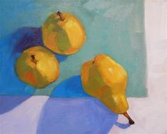 """Daily Paintworks - """"Looking down on Pears"""" - Original Fine Art for Sale - © Lisa Kyle"""