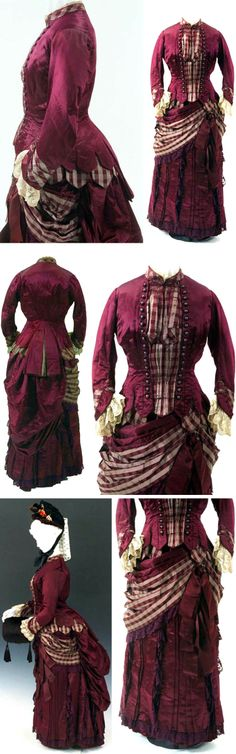 Walking dress, U.K., ca. 1885. Silk satin and lace. Skirt ended above ground to allow wearer to walk outdoors. Bunka Costume Museum