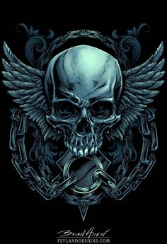 Evil skull design with wings and chains for a MMA apparel brand
