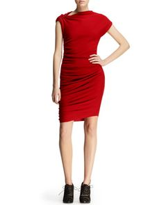 Ruched Pin-Shoulder Jersey Dress by Lanvin at Bergdorf Goodman.