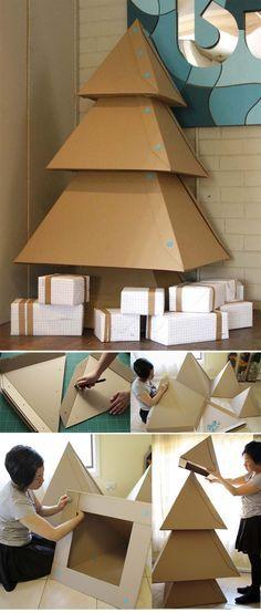 Se acerca navidad, construye un árbol con cartón :)
