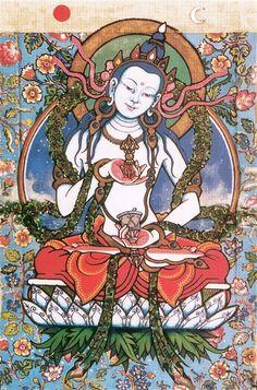 Bodhisattva Vajrasattva Mantra syllable mantra) is used in all four Tibetan Buddhism schools and purifies practitioner negative karma. Tibetan Art, Tibetan Buddhism, Buddha Buddhism, Buddhist Symbols, Thangka Painting, 17th Century Art, Buddha Art, Guanyin, Religious Art