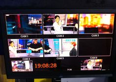 A control monitor displays five camera feeds from the studio.